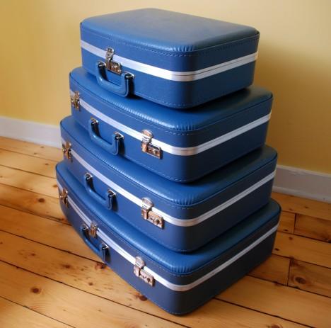 Blue Vintage Suitcase Set