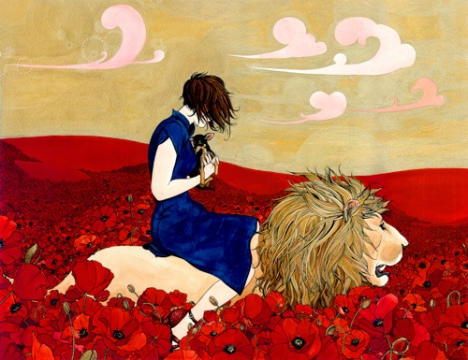 Lion and poppies