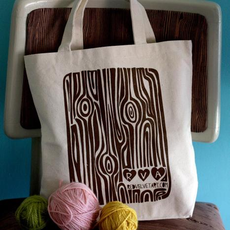 wood grain tote